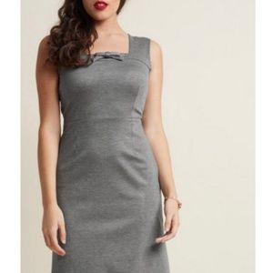 Modcloth Retro Pin Up Sheath Dress in Heather Gray
